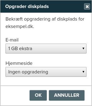 Billedeksempel fra Mit Netsite: Opgradering med mere diskplads til e-mail