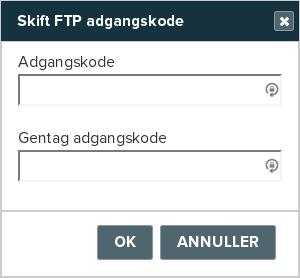 Billedeksempel fra Mit Netsite: Ny FTP adgangskode