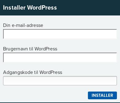 Billedeksempel fra Mit Netsite: Alt hvad du skal indtaste for at få installeret WordPress