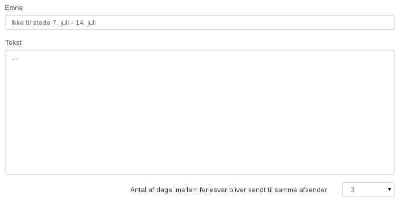 Billedeksempel fra webmailen: Opsætning af automatisk svar
