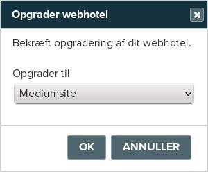 Billedeksempel fra Mit Netsite: Opgradering til Mediumsite webhotel