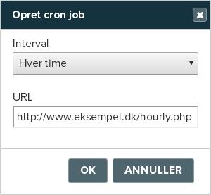 Billedeksempel fra Mit Netsite: Oprettelse af en cron job