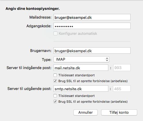 Oplysninger du skal indtaste under opsætningen af din e-mail i Outlook til Mac